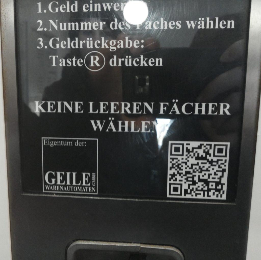 Keine leeren Fächer wählen – falls man etwas aus dem Automaten möchte!
